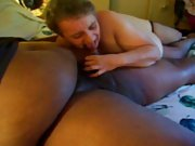 Massive and fat black hunk sucked by a mature blonde