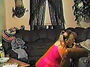 Fat blonde Milf with pony tails tasting a black rod